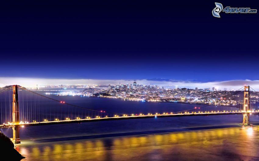 Golden Gate, San Francisco, upplyst bro, nattstad
