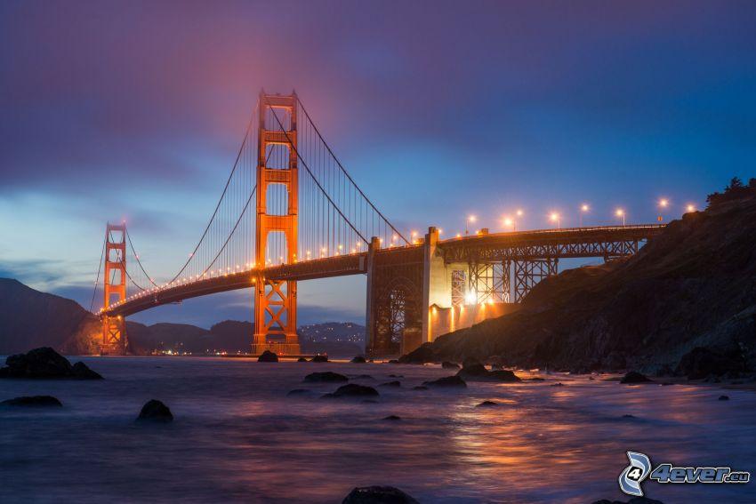 Golden Gate, upplyst bro