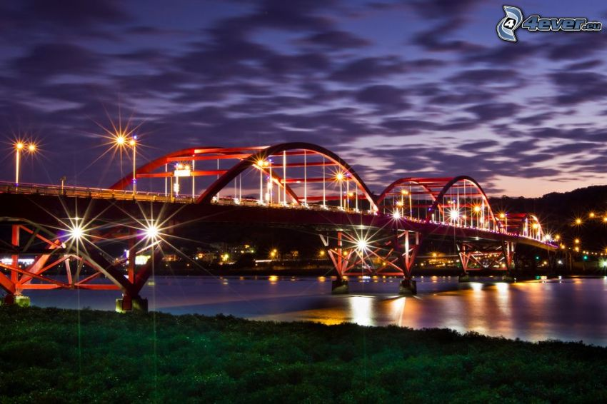 Guandu Bridge, upplyst bro, nattstad