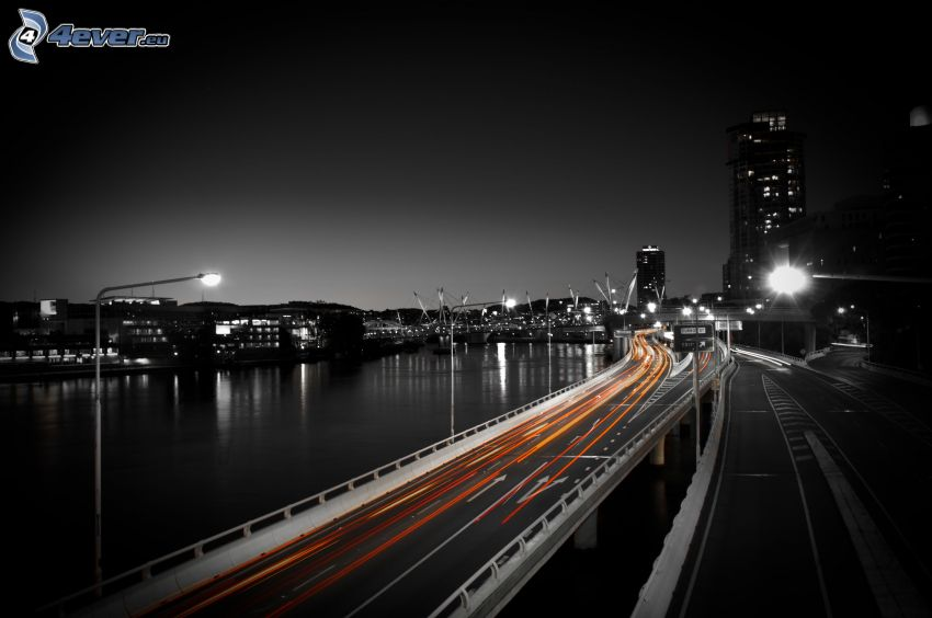 motorvägsbro, ljus, nattstad