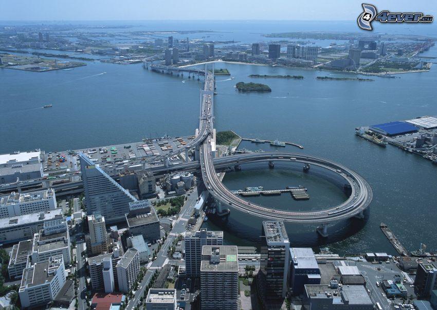 motorvägsbro, Shanghai, stad