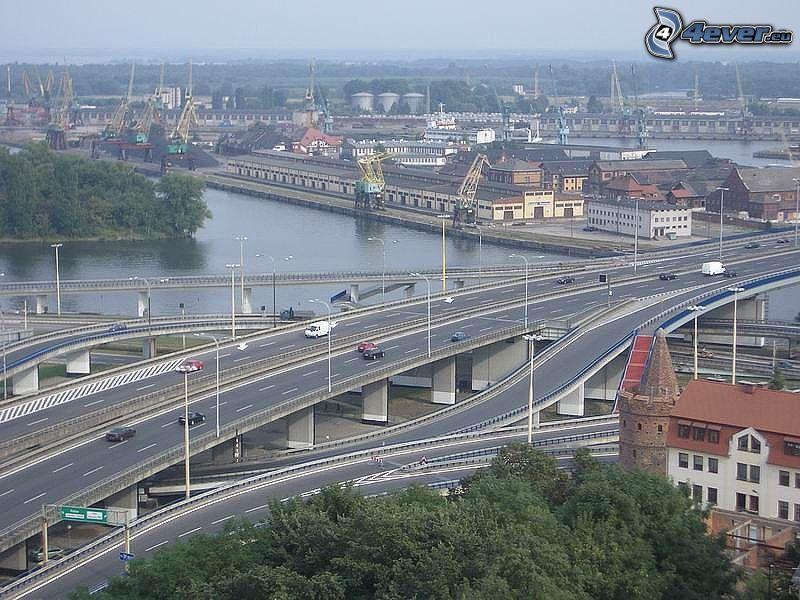 motorvägskorsning, broar, stad, resor, hamn