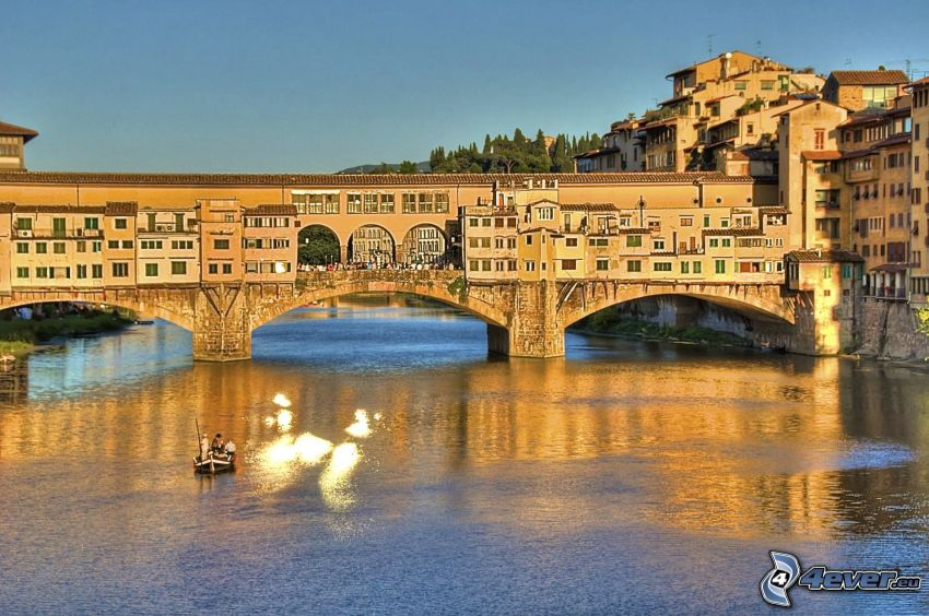 Ponte Vecchio, Florence, Arno, flod, bro