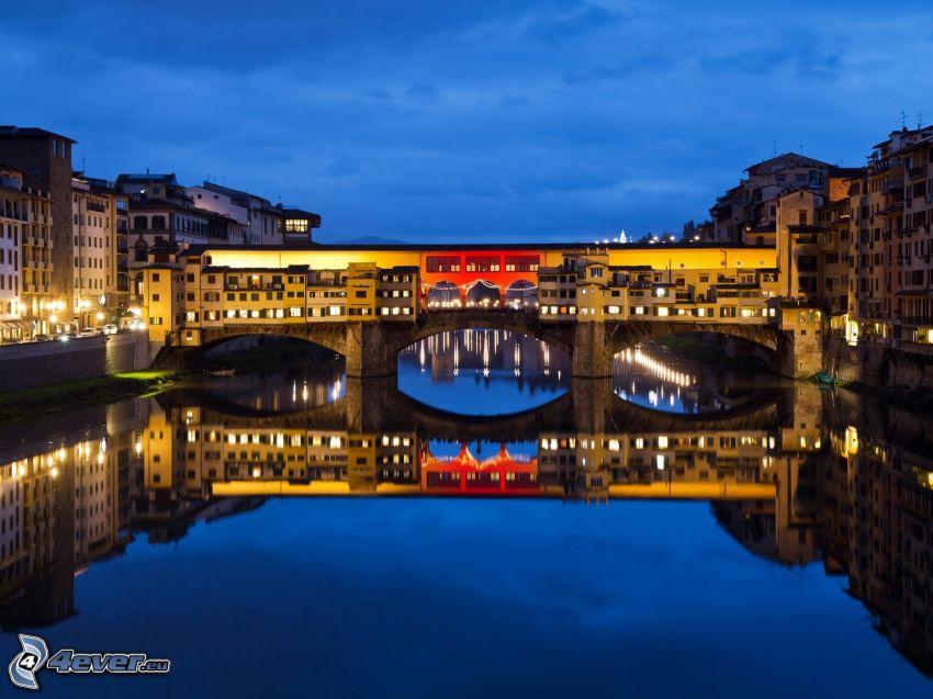 Ponte Vecchio, Florence, natt, kvällsstad, Arno, flod, bro
