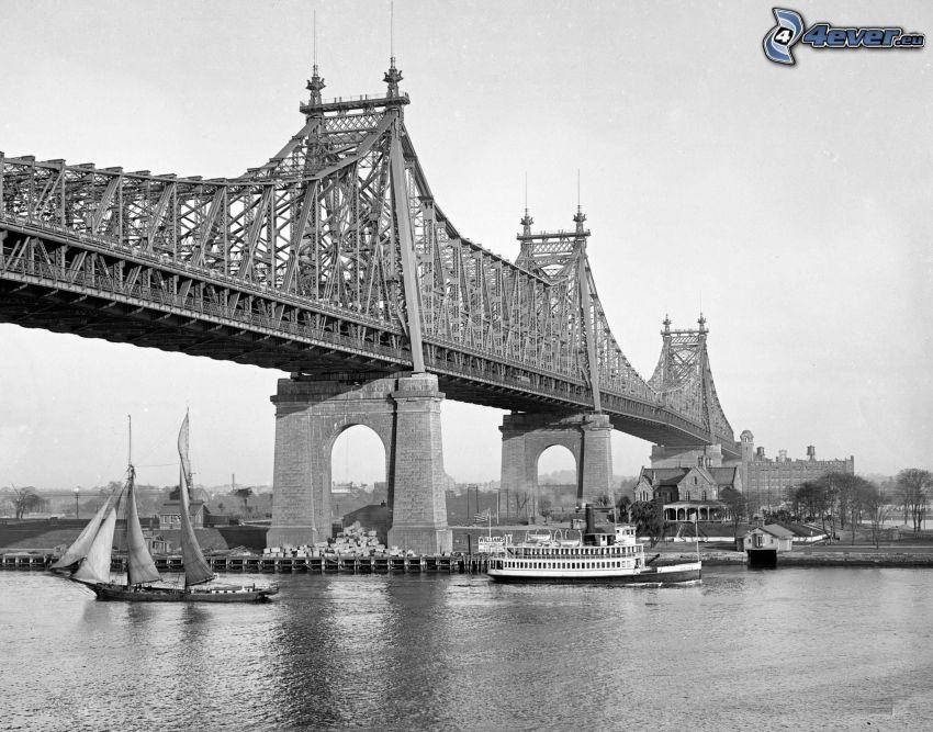 Queensboro bridge, fartyg, svartvitt foto