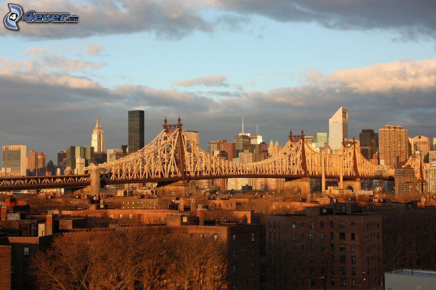 Queensboro bridge, skyskrapor, New York