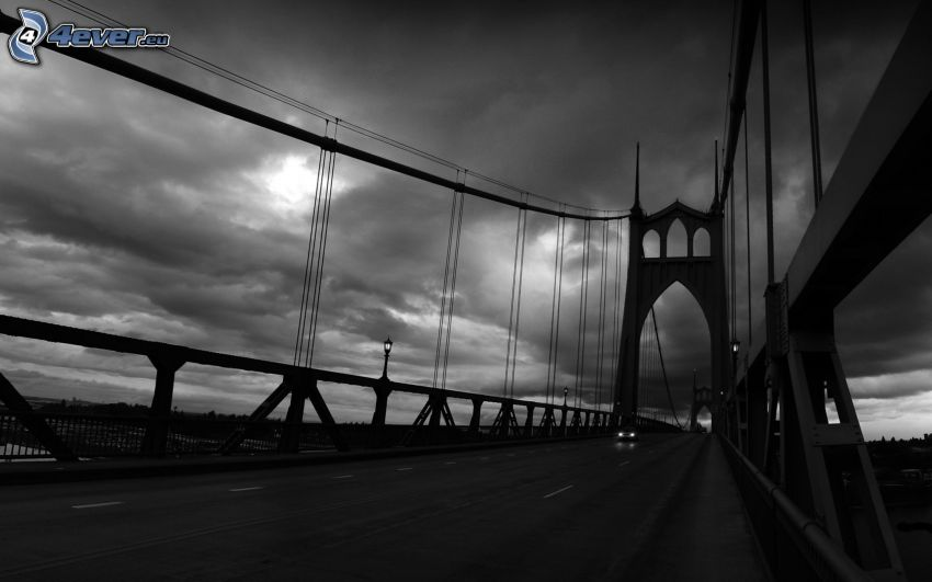 St. Johns Bridge, svartvitt foto
