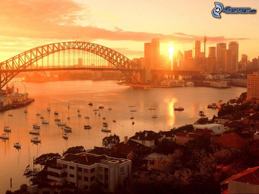 Sydney Harbour Bridge, solnedgång i staden, bro, yachter, hav, skyskrapor