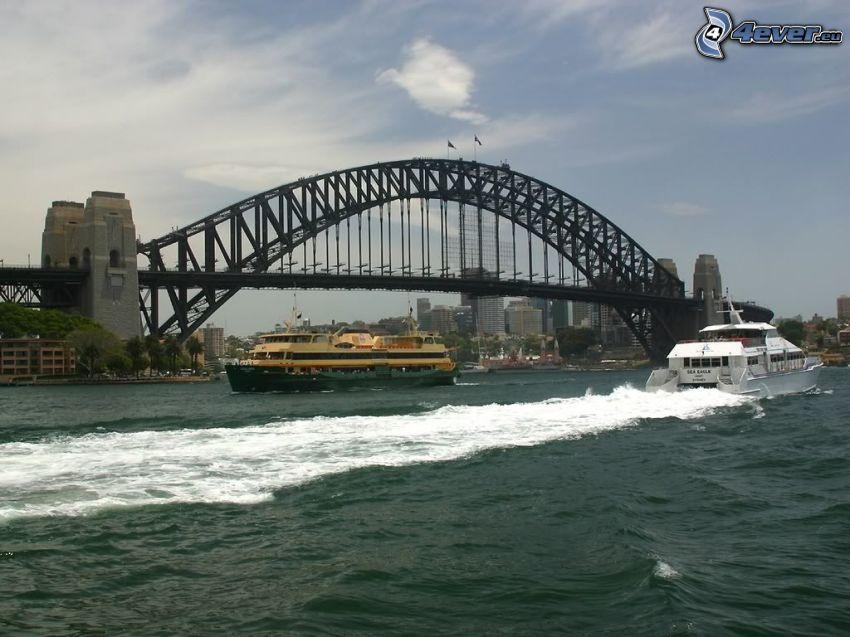 Sydney Harbour Bridge, Sydney, yacht, flod, fartyg