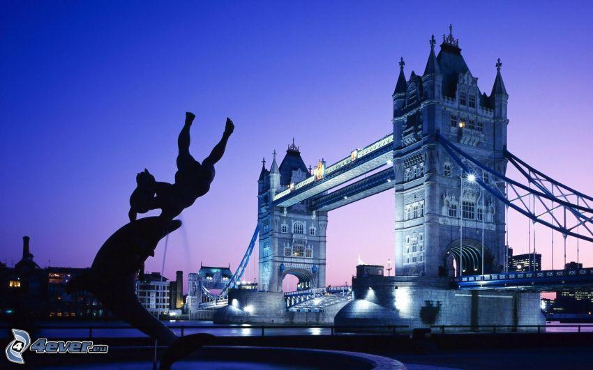 Tower Bridge, London, upplyst bro