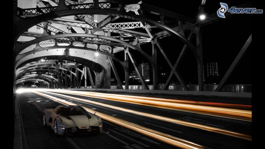 Tower Bridge, Sacramento, bil, natt, belysning