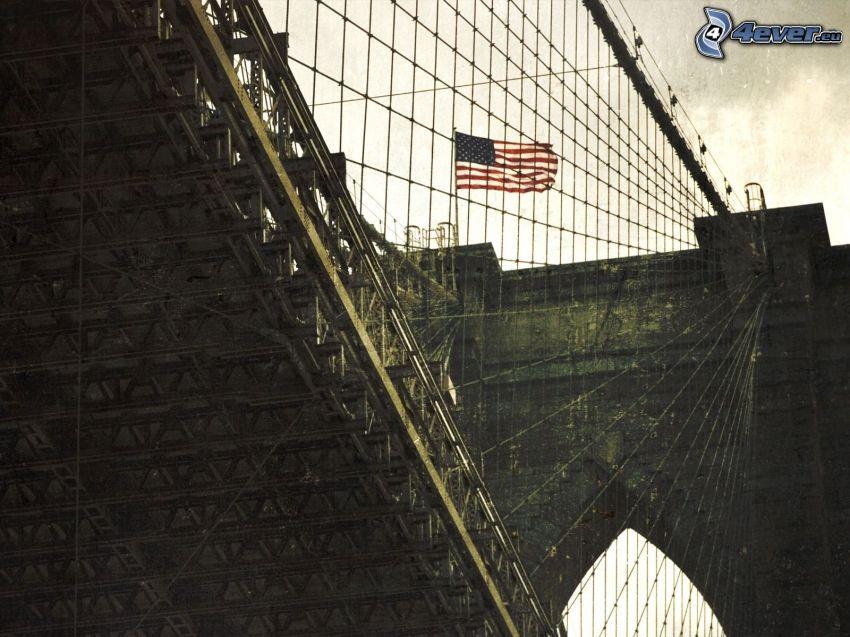 Brooklyn Bridge, New York, USA, Amerikanska flaggan