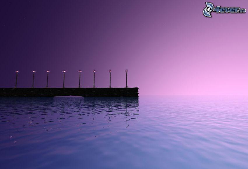 brygga, belysning, hav, lila himmel