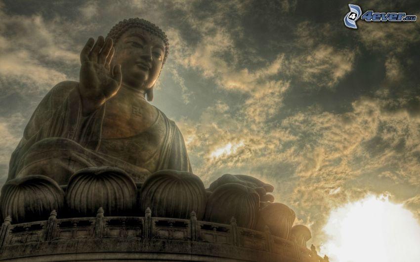 Buddha, staty, himmel, HDR
