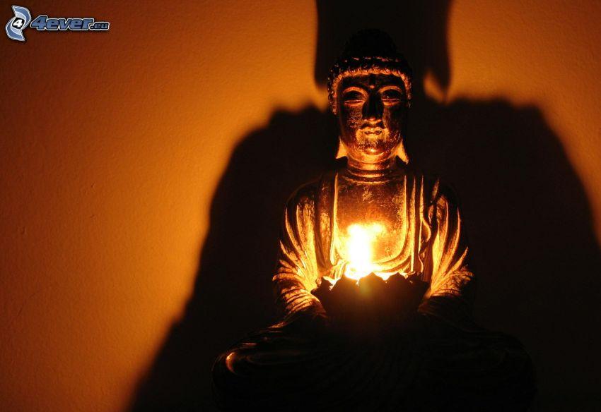 Buddha, staty, ljus