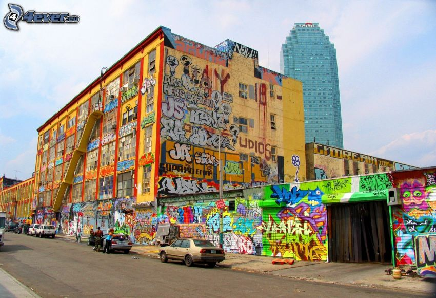 byggnad, graffiti, skyskrapa