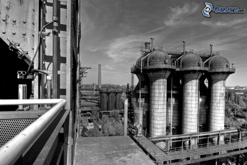 fabrik, svart och vitt