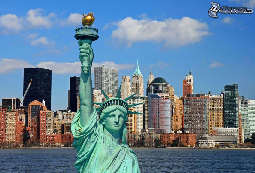 Frihetsgudinnan, New York, skyskrapor