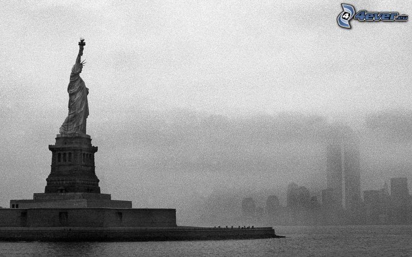 Frihetsgudinnan, New York, USA, svart och vitt