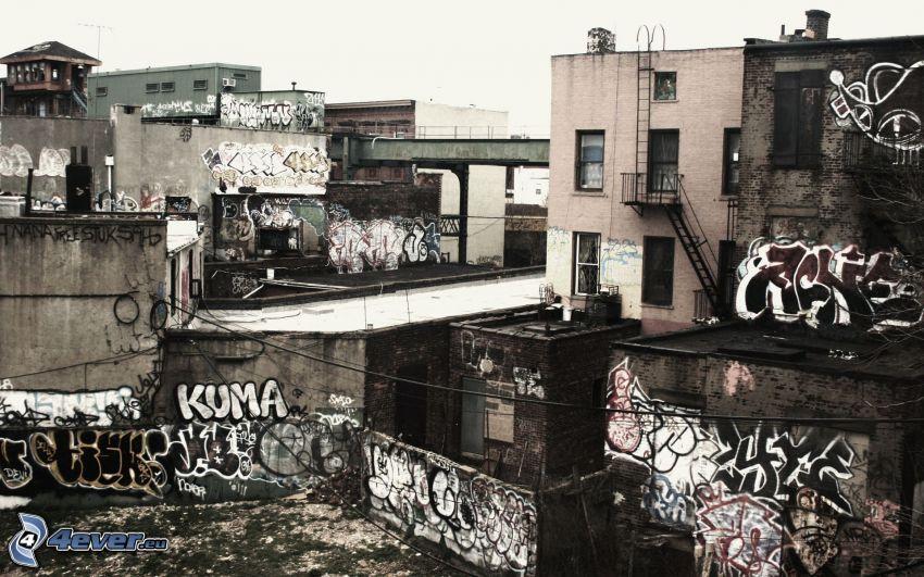 gamla hus, graffiti