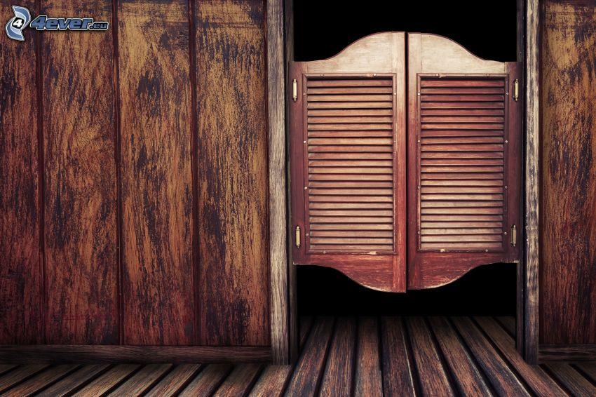 gammal dörr, trä