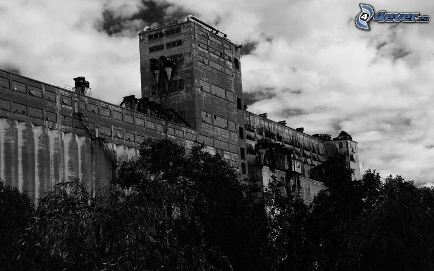 gammal fabrik, svartvitt foto