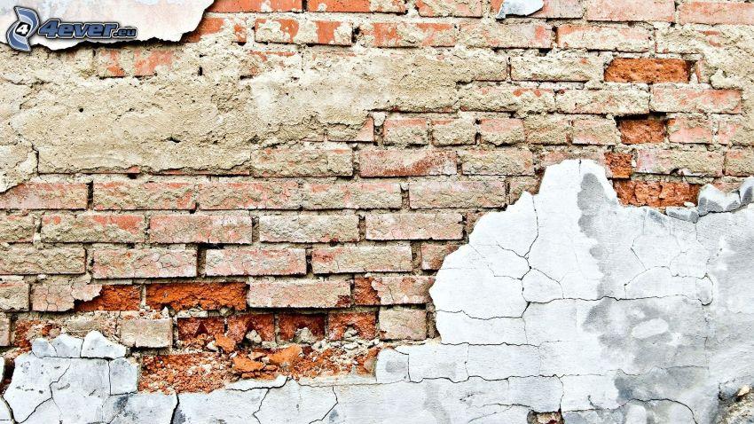 gammal mur, sprucken vägg, tegelvägg