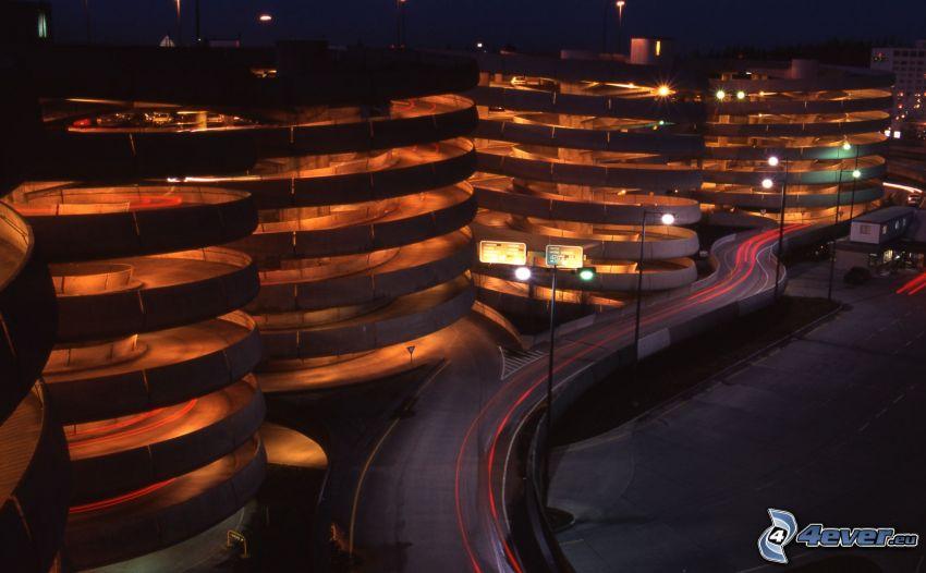 garage, spiral, natt, belysning
