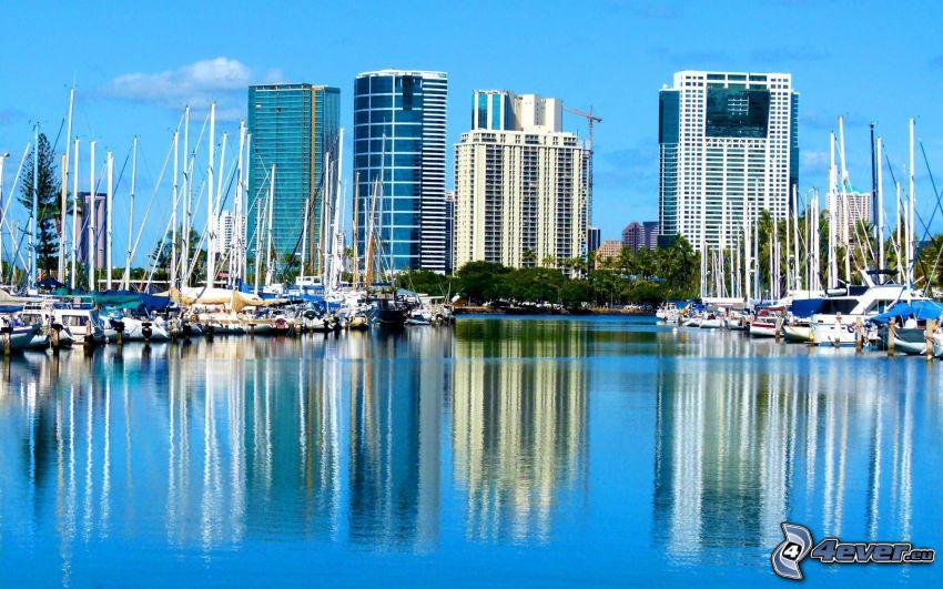 hamn, Hawaii, USA, byggnader, hav