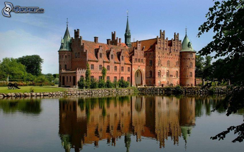 herrgård, Danmark, sjö, spegling