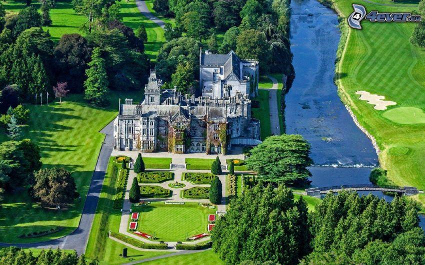 Adare Manor, hotel, trädgård, park, bro, golfbana