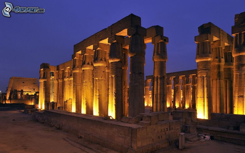 antik byggnad, Egypten, kväll, belysning