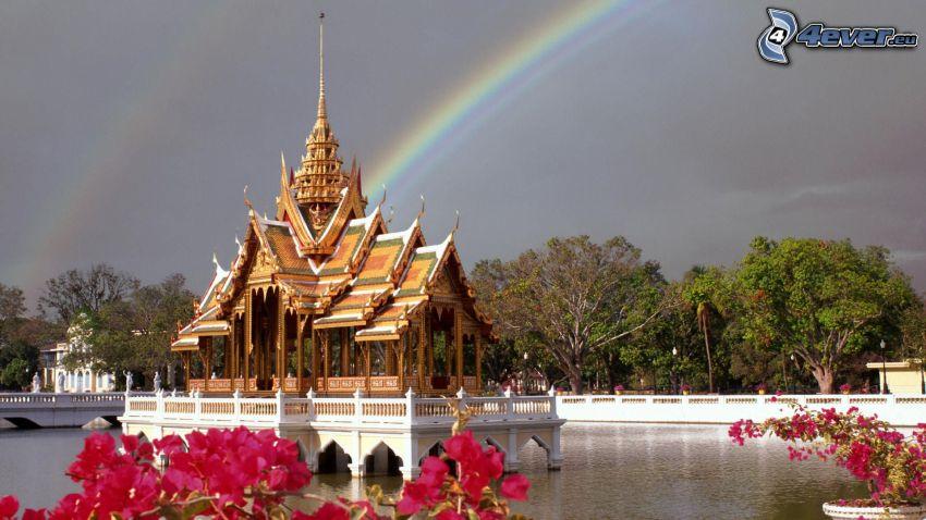 Bang Pa-In, Thailand, regnbåge, sjö