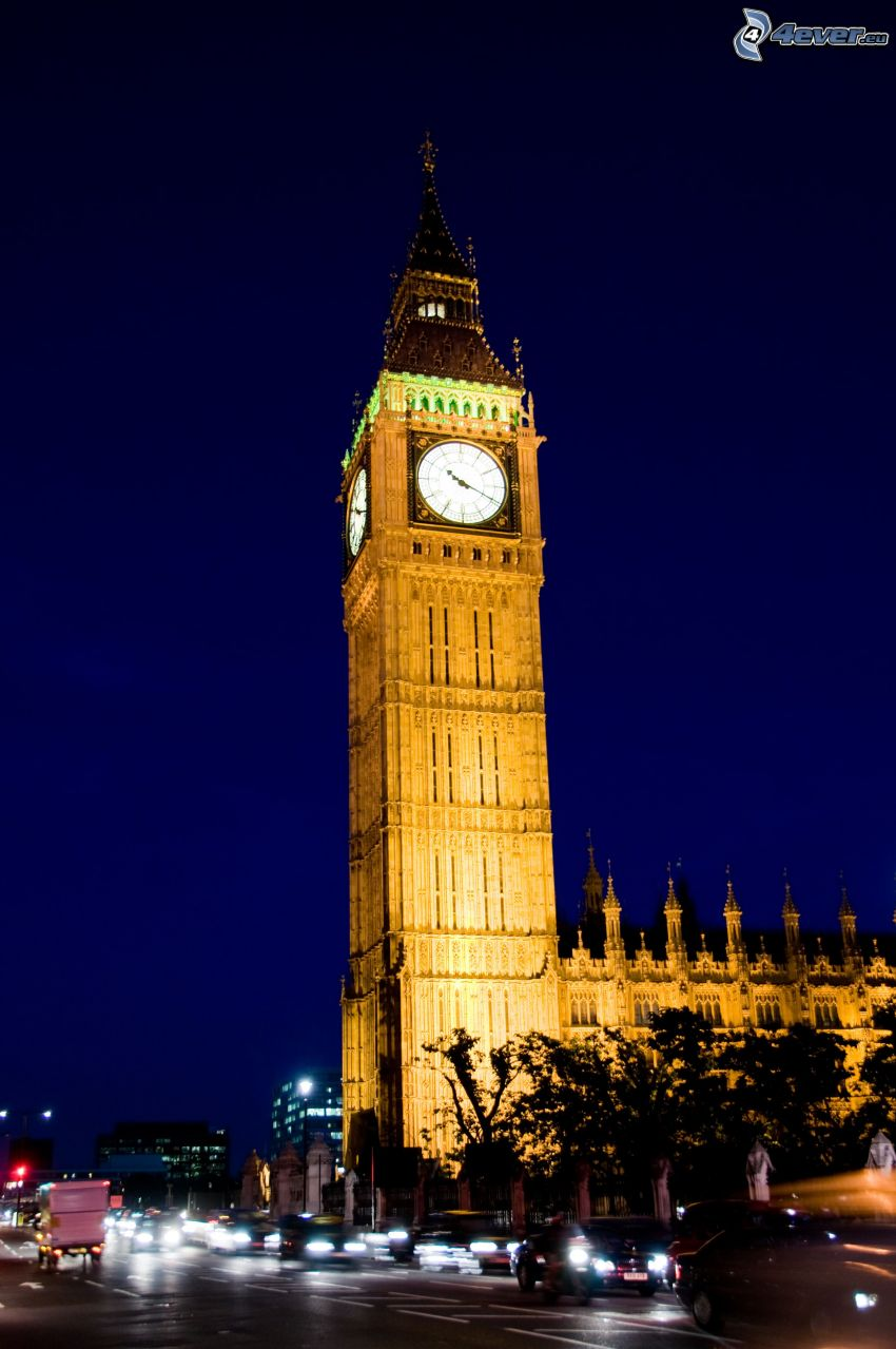Big Ben, belysning, kväll, London, England