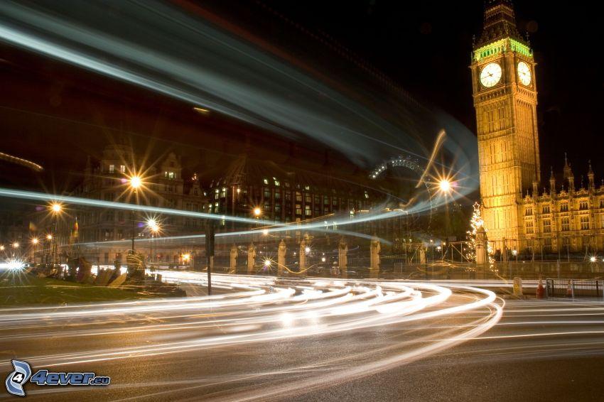 Big Ben, London, kväll, väg, gatlyktor
