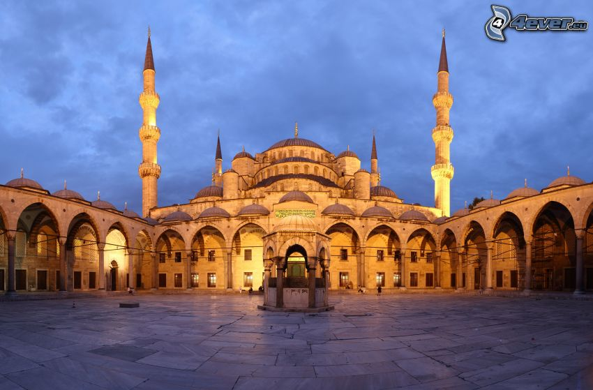 Blå moskén, kväll, gård
