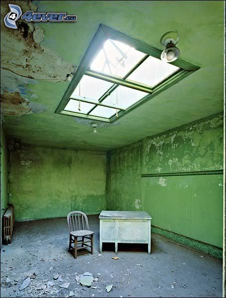 bord, stol, fönster, ruin