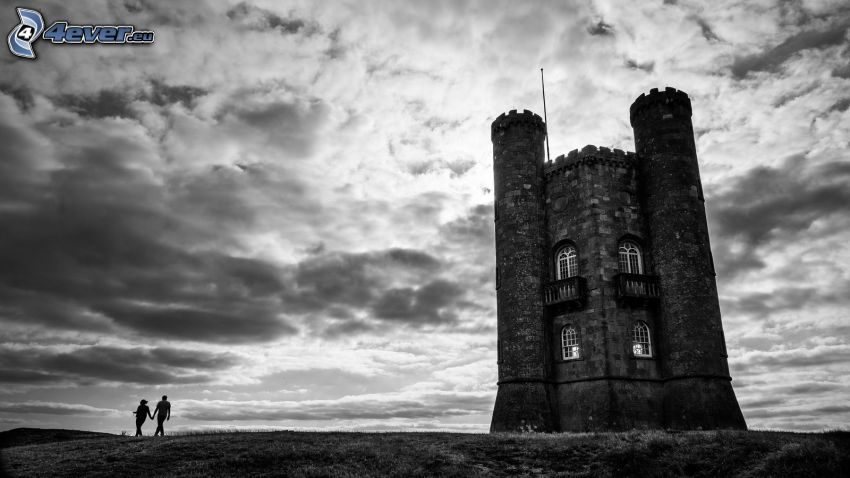 Broadway Tower, par, svartvitt foto
