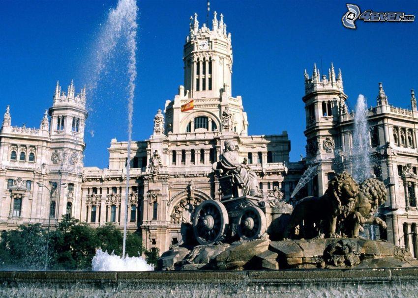 byggnad, fontän, Madrid