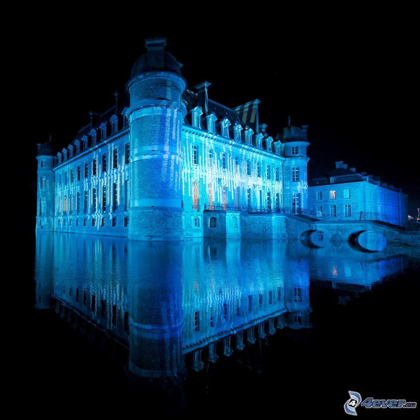 Château de Belœil, sjö, spegling, belysning, slott vid vatten