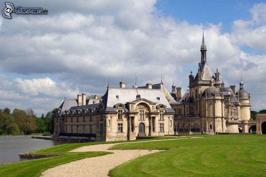 Château de Chantilly, park, trottoar, sjö