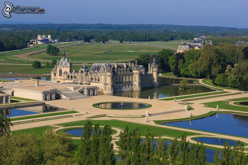 Château de Chantilly, trädgård, sjöar, park