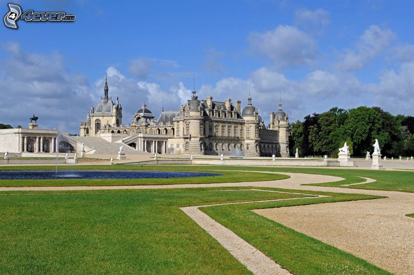 Château de Chantilly, trädgård, trottoar, sjö