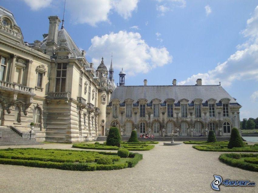 Château de Chantilly, trädgård, trottoar