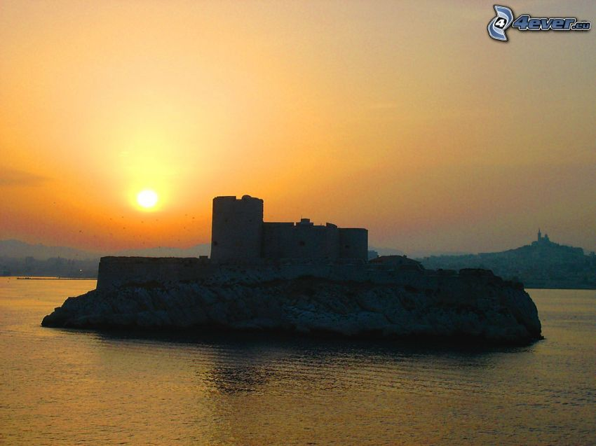 Château d'If, solnedgång, ö