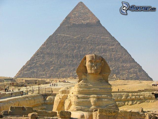 Chefrens pyramid, sfinx, Egypten