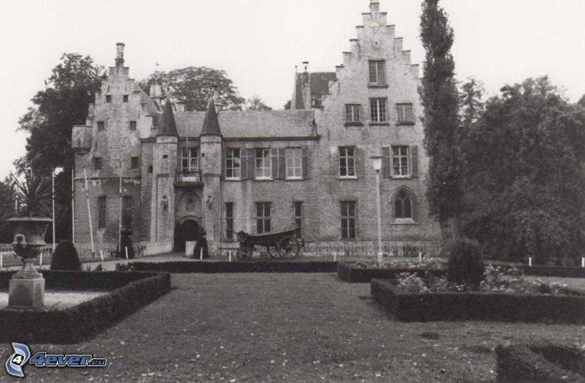 Cortewalle, park, gammalt foto, svartvitt foto