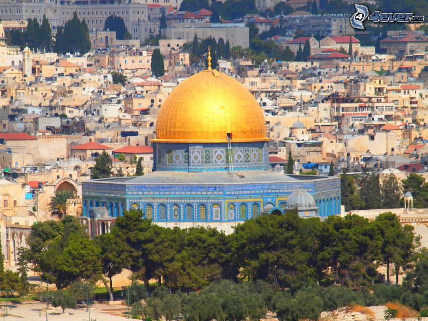 Dome of the Rock, träd, Jerusalem