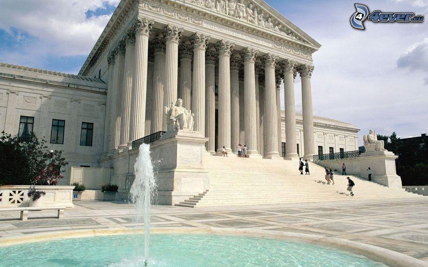 domstol, byggnad, Washington DC, USA, fontän