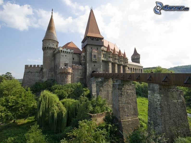 Draculas slott, Hunyad, Transsylvania, Rumänien, bro